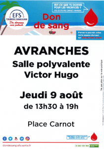 DON DU SANG AVRANCHES 9 AOUT